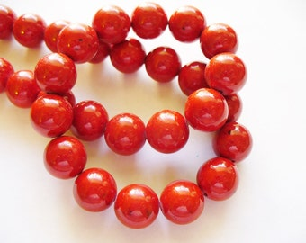 Fossil Beads Red Round 10mm