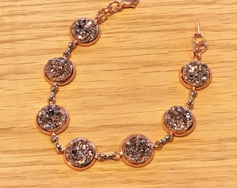 Rose Gold Druzy Anklet - Rose Gold Jewelry - Rose Gold - Anklet - Rose Gold - Druzy Jewelry - Adjustable Anklet - Druzy - Body Jewelry -