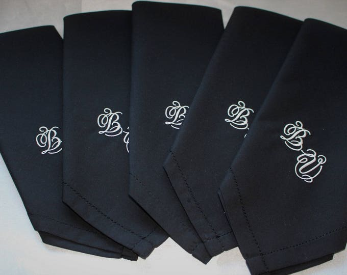 Set of 5 Monogrammed Men's Black Handkerchiefs, Embroidered Groomsmen Hankys, Groom Handkerchief, Father of the Bride, Wedding Party Gifts