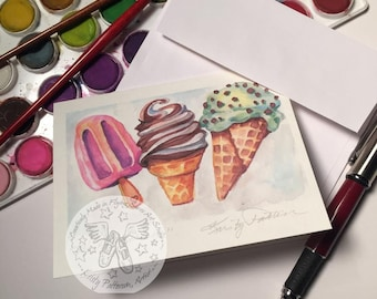 "Ice Cream Watercolor 4.25"" x 5.5"" Blank Greeting Card"