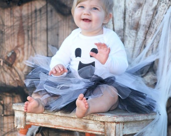 White gray and black ghost tutu costume with onesie or t shirt