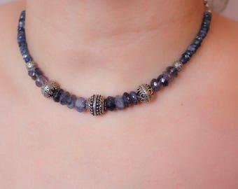 blue gemstone choker necklace, iolite choker necklace, kyanite choker necklace, beaded gemstone necklace , antique silver beaded necklace