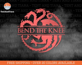 Bend The Knee Game of Thrones Targaryen Jon Snow Vinyl Decal Car Decal Laptop Decal Yeti Decal Water Bottle Decal Gift for Friend