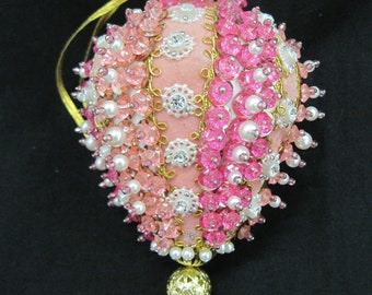 Handmade Bead and Sequin Teardrop Christmas Ornament