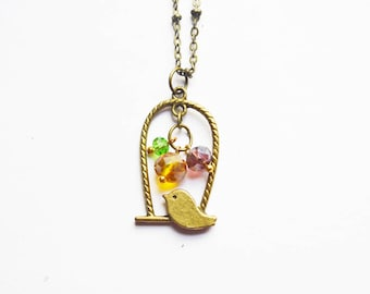 Bronze Birdcage and Amber Beads Necklace