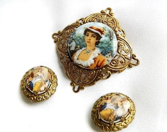 Antique Vintage Victorian Filigree Portrait Cameo Brooch & Earrings - Signed W Germany - Set