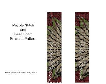 Long Leaves Bead Loom Bead Weaving Bracelet Pattern or Peyote Stitch Bracelet Pattern