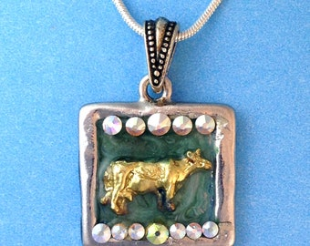 Dairy Cow Gold Color in Frame with Swarovski Crystals Embedded In Teal Enamel Stainless Steel Chain Farm 4H FFA Show Cows Cattle Livestock