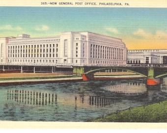 Vintage Linen Postcard...Pennsylvania, Philadelphia, New General Post Office...Unused..no. PA0040