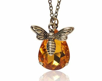 Honey Bee Necklace, Jewelry Gift for Bee Lover, Gold Topaz Crystal, Drop Bee and Honey, Bumble Bee Necklace Bee  Bee pendant