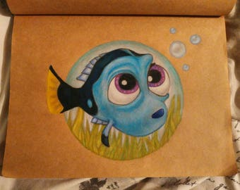 A4 Baby Dory Drawing (Finding Dory)