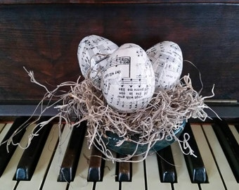 Music Easter eggs, vintage hymnal pages, decoupaged eggs