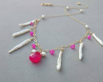 Freshwater Pearl Pearl Necklace with Hot Pink Chalcedony and Gold Filled Chain