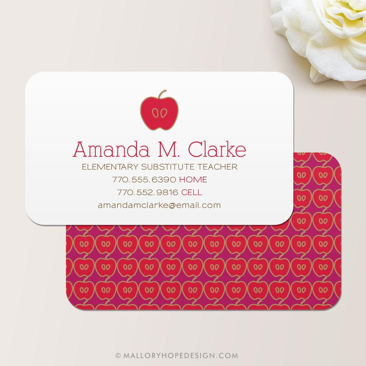 Teacher Business Card / Calling Card / Mommy Card / Contact