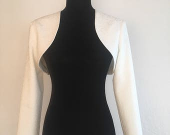 Wool white jacquard wedding bolero