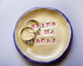 circle ring dish; small clay ring dish; thing a ma bob ring dish; jewelry holder; handmade