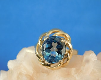 Custom 5.11 ct. Oval Blue Topaz Ring Solid 14K Yellow Gold
