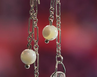 Dainty and Charming Quartz Crystal Drop Earrings. Sterling Silver Chain Dangle with Mother of Pearl Beads. Natural Quartz Points.