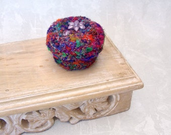 Multicolor Silk Basket - Flower Inspired Handmade Silk Sari Tapestry Basket w/ Lid - Valentine's Day, Mother's Day, Wedding Anniversary Gift