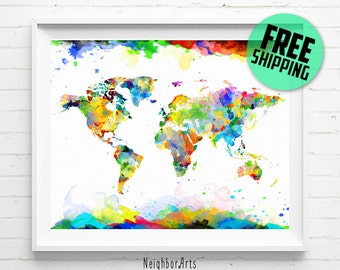 World map print, World map poster, Travel map print, World map watercolor, World map art print, World Map abstract, wall art, home decor 464