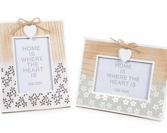 Natural Wood Picture Frame Romantic Handprinted Flowers