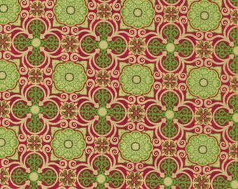 Silent Night Red Medallion Tile 120-12202 from Fabri-Quilt by the yard