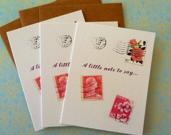 Vintage Stamps Pack of 3 Mini Notecards