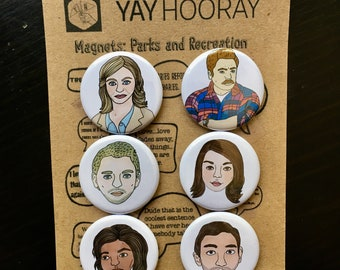 Parks and Recreation, tv show, pin button badges, magnets hand drawn illustrations, Lexie Knope, Ron Swanson, April, Andy, Tom, Donna