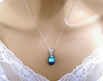 Romantic Blue Necklace/Swarovski Blue Crystal Necklace/Rhinestone/Blue Pendant Necklace/Sterling Silver Chain/Romantic Jewelry Blue Teardrop