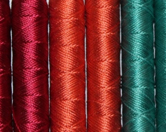 SILKA natural silk embroidery thread, PACK OF 10 spools, mix of colors, ref 008