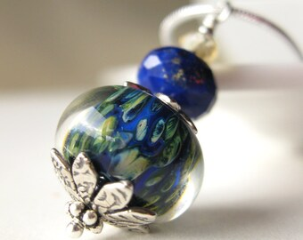 Wild lagoon boro lampwork neckalce with lapis lazuli and citrine in sterling silver