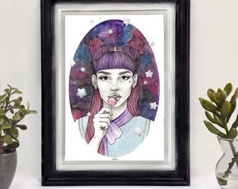Lollipop Girl • Silver Hand Embellished • A4 Print • Watercolour • Original Art - Stars - Sweets - Space - Pink - Cute