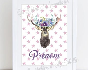 Poster deer wreath style Boho customizable with name