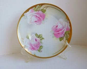 Vintage roses plate Pink rose plate Bavarian rose plate