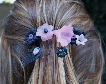 OOAK Handmade Lucite Flower and Wire Comb in Pink and Black #318