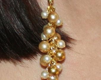 Beautiful Golden Cluster Dangle Earrings