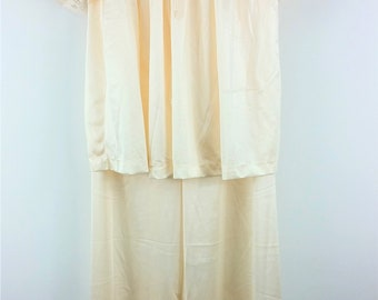 Vintage 60s Val Mode Silky Nylon and Lace Pajama Set Top & Bottom- Set Size M- Champagne Pink- Made in the USA