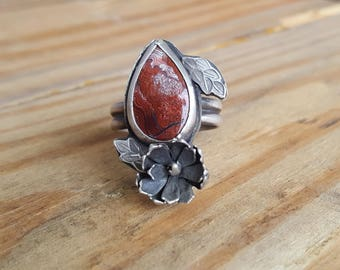 Crazy Lace Agate and Succulent Ring