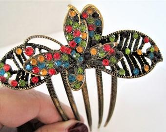 Rhinestone Hair Comb, Colorful Butterfly, Wedding Elegance - Butterfly Hair Elegance