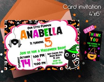 Halloween invitation, Halloween Party, Halloween Birthday Party, Halloween Bash, Birthday party, party of halloween, free thank you cards