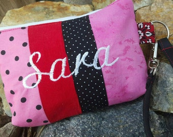 Personalized Patchwork Wristlet, Cosmetic Bag, Bridesmaids Gift, Fabric Wristlet