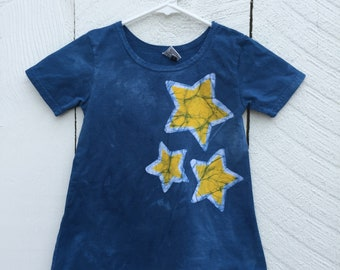 Girls Star Dress, Yellow Star Dress, Blue Girls Dress, Blue Star Dress, Celestial Girls Dress, Twinkle Twinkle Little Star Dress (4T)