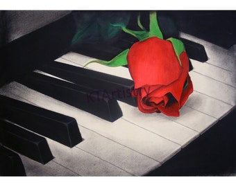 Rose on Piano, Wall Art, Fine Art Print of Original Drawing, Charcoal Pencil Colored Pencil White Charcoal Drawing