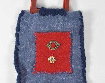 Hand Knit Blue and Red Felt Bag - Lipstick and Jeans
