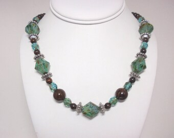 Aqua Teal Picasso Czech Bicone Beads, Bronzite Gemstones, Pewter Accents, Sterling Silver Hook Clasp