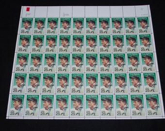 Vintage Lou Gehrig New York Yankees US Postage Stamps - Full Sheet of 50 Stamps with Original Mailing Envelope - Commemorative Baseball