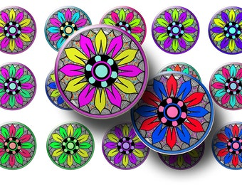 Funky flowers bottle cap images - Boho bottle cap images - Abstract flowers 1 inch circles - Magnets - Key chains - Jewelry making