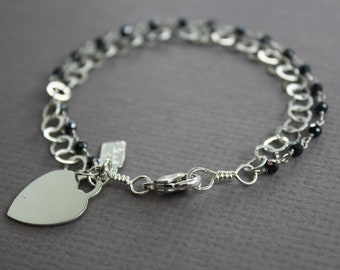 Personalized sterling silver medium size bracelet with spinels tones and heart charm, Initial name bracelet, black spinel bracelet, BR-021