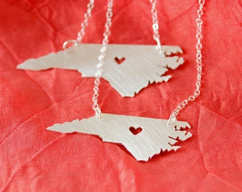 Petite North Carolina Necklace with Heart
