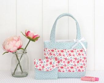 Little Girls Bag / Mini Tote Bag & Purse / Girls Bag / Kids Bag / Wallet - Pink Floral and Mint Spot